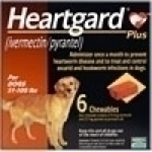 Heartgard Plus Brand (Ivermectin) for Medium Dog 26-50 lbs, 6 Ta